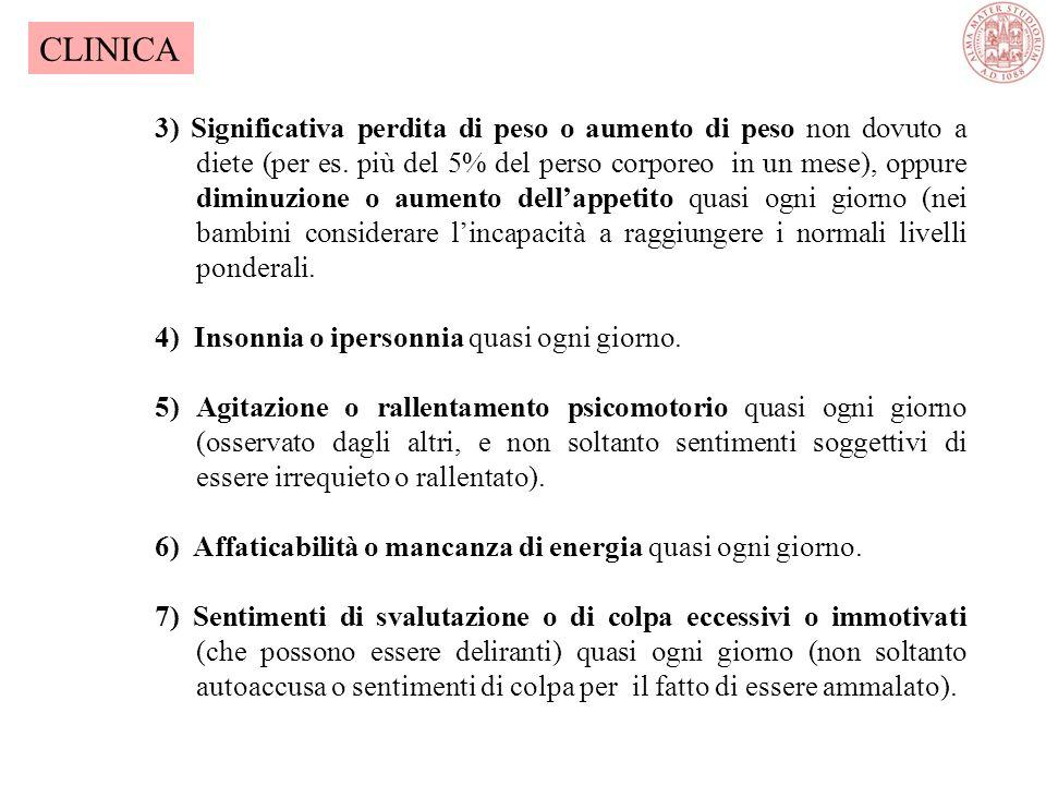 EPISODIO DEPRESSIVO MAGGIORE A) Almeno 5 dei seguenti sintomi sono stati presenti durante lo stesso lo stesso periodo di 2 settimane, e rappresentano