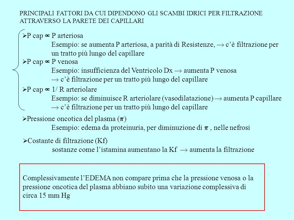 PRINCIPALI FATTORI DA CUI DIPENDONO GLI SCAMBI IDRICI PER FILTRAZIONE ATTRAVERSO LA PARETE DEI CAPILLARI Pressione oncotica del plasma ( ) Esempio: ed