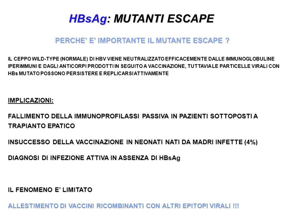 HBsAg: MUTANTI ESCAPE PERCHE E IMPORTANTE IL MUTANTE ESCAPE ? IL CEPPO WILD-TYPE (NORMALE) DI HBV VIENE NEUTRALIZZATO EFFICACEMENTE DALLE IMMUNOGLOBUL