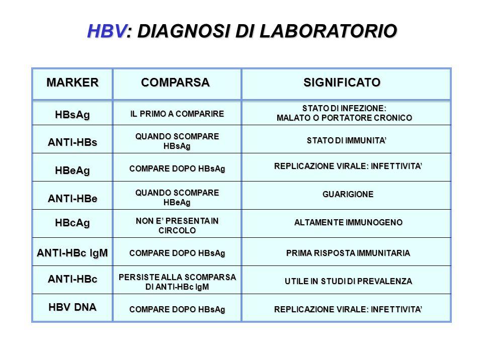 HBV: DIAGNOSI DI LABORATORIO MARKERCOMPARSA HBsAg ANTI-HBs HBeAg ANTI-HBe ANTI-HBc ANTI-HBc IgM STATO DI INFEZIONE: MALATO O PORTATORE CRONICO STATO DI IMMUNITA REPLICAZIONE VIRALE: INFETTIVITA GUARIGIONE ALTAMENTE IMMUNOGENO UTILE IN STUDI DI PREVALENZA PRIMA RISPOSTA IMMUNITARIA SIGNIFICATO QUANDO SCOMPARE HBsAg QUANDO SCOMPARE HBeAg HBV DNA HBcAg NON E PRESENTA IN CIRCOLO REPLICAZIONE VIRALE: INFETTIVITA IL PRIMO A COMPARIRE COMPARE DOPO HBsAg PERSISTE ALLA SCOMPARSA DI ANTI-HBc IgM