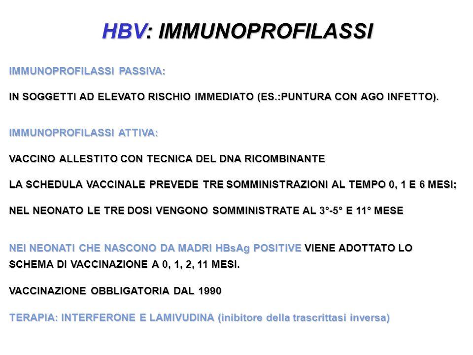 HBV: IMMUNOPROFILASSI IMMUNOPROFILASSI PASSIVA: IN SOGGETTI AD ELEVATO RISCHIO IMMEDIATO (ES.:PUNTURA CON AGO INFETTO). IMMUNOPROFILASSI ATTIVA: VACCI