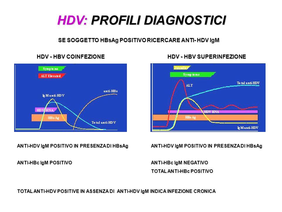 HDV: PROFILI DIAGNOSTICI HDV - HBV COINFEZIONE HDV - HBV SUPERINFEZIONE SE SOGGETTO HBsAg POSITIVO RICERCARE ANTI- HDV IgM ANTI-HDV IgM POSITIVO IN PR