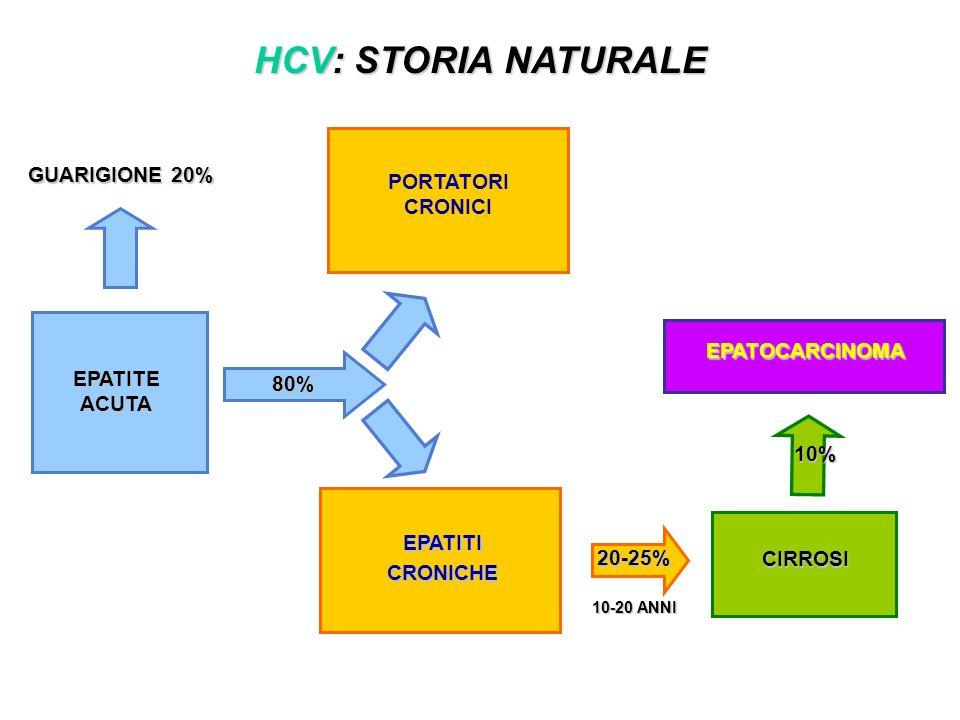 HCV: STORIA NATURALE GUARIGIONE 20% 80% 10-20 ANNI EPATITEACUTA EPATITI CRONICHE CIRROSI EPATOCARCINOMA 20-25% PORTATORI CRONICI 10%