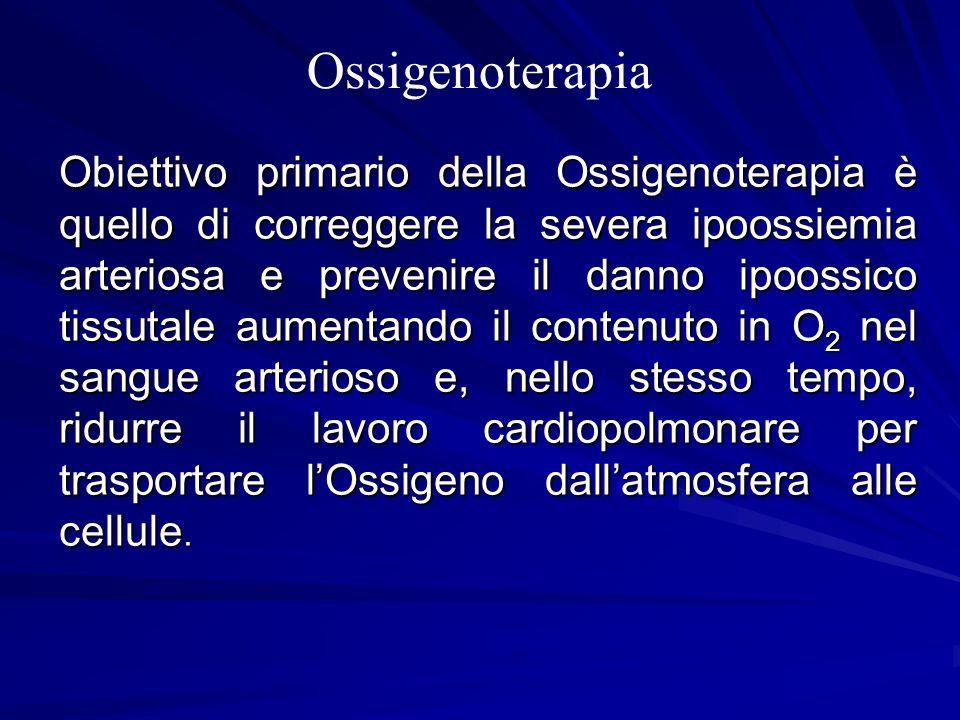 Ossigenoterapia Obiettivo primario della Ossigenoterapia è quello di correggere la severa ipoossiemia arteriosa e prevenire il danno ipoossico tissuta