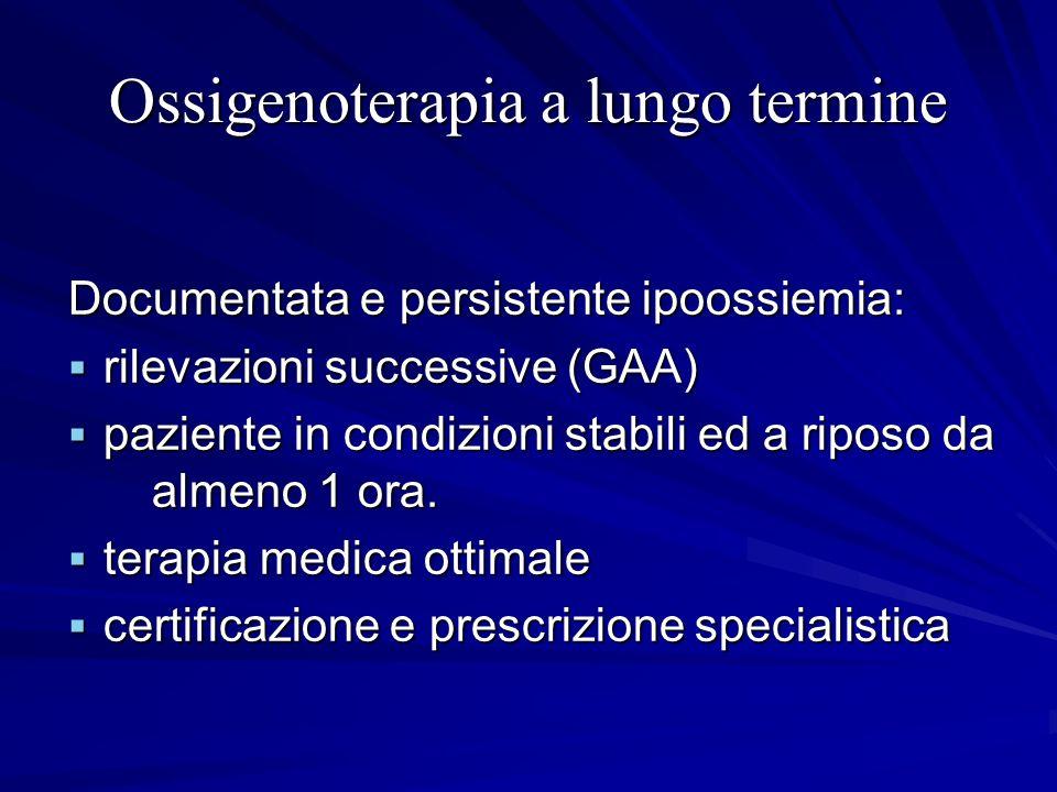 Ossigenoterapia a lungo termine Documentata e persistente ipoossiemia: rilevazioni successive (GAA) rilevazioni successive (GAA) paziente in condizion