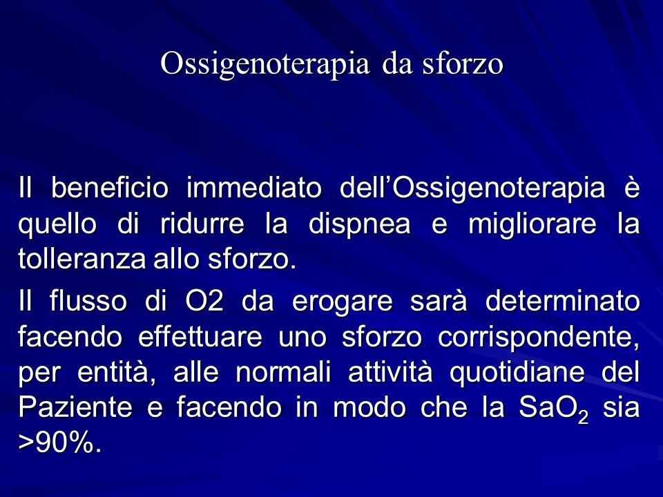 Ossigenoterapia da sforzo Il beneficio immediato dellOssigenoterapia è quello di ridurre la dispnea e migliorare la tolleranza allo sforzo. Il flusso