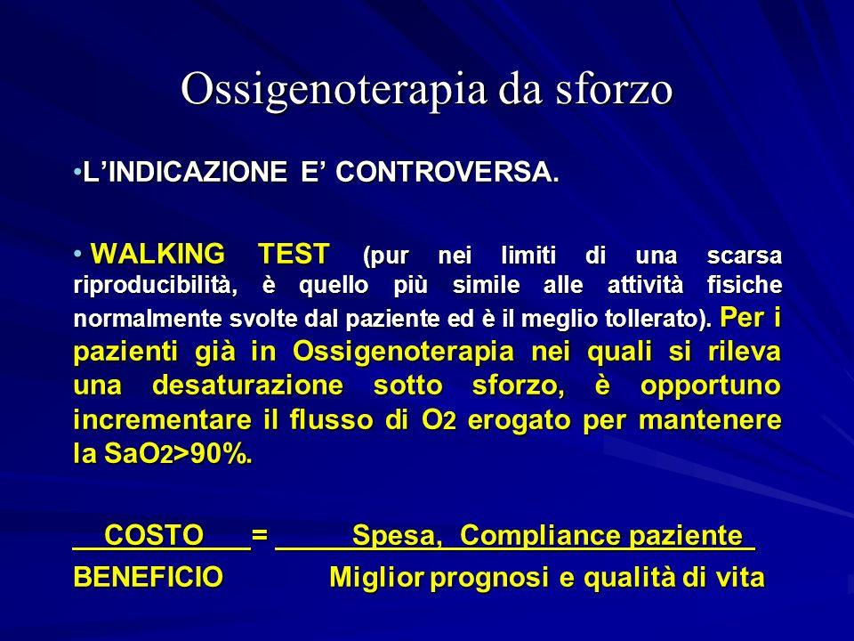 Ossigenoterapia da sforzo LINDICAZIONE E CONTROVERSA.LINDICAZIONE E CONTROVERSA. WALKING TEST (pur nei limiti di una scarsa riproducibilità, è quello
