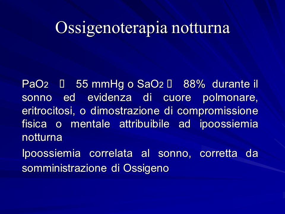 Ossigenoterapia notturna PaO 2 55 mmHg o SaO 2 88% durante il sonno ed evidenza di cuore polmonare, eritrocitosi, o dimostrazione di compromissione fi