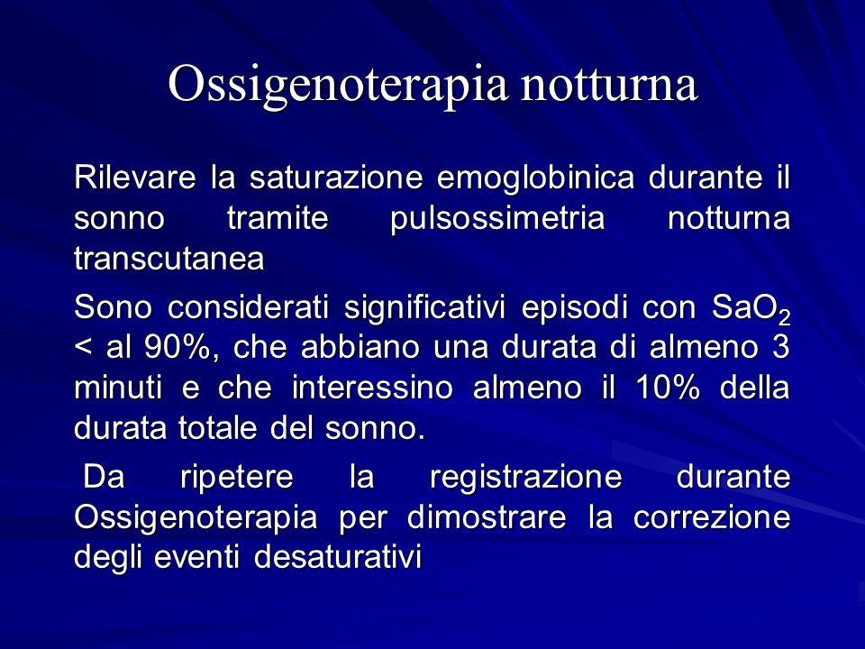 Ossigenoterapia notturna Rilevare la saturazione emoglobinica durante il sonno tramite pulsossimetria notturna transcutanea Sono considerati significa
