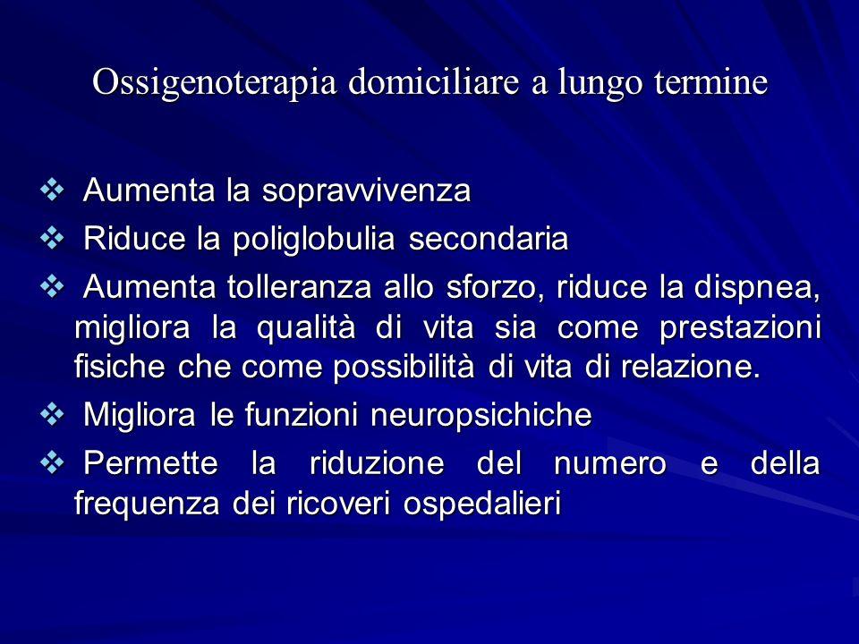 Ossigenoterapia domiciliare a lungo termine Aumenta la sopravvivenza Aumenta la sopravvivenza Riduce la poliglobulia secondaria Riduce la poliglobulia