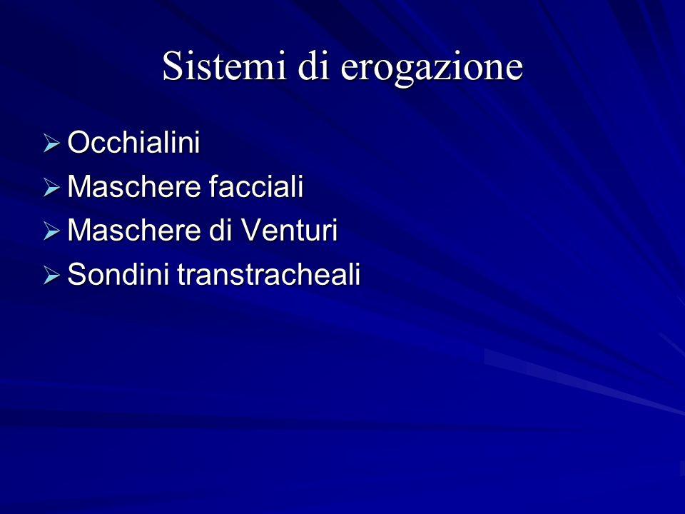 Sistemi di erogazione Occhialini Occhialini Maschere facciali Maschere facciali Maschere di Venturi Maschere di Venturi Sondini transtracheali Sondini