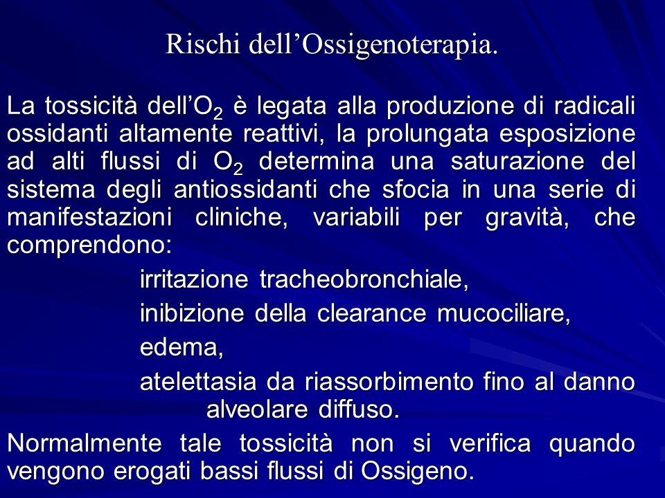 Rischi dellOssigenoterapia. La tossicità dellO 2 è legata alla produzione di radicali ossidanti altamente reattivi, la prolungata esposizione ad alti