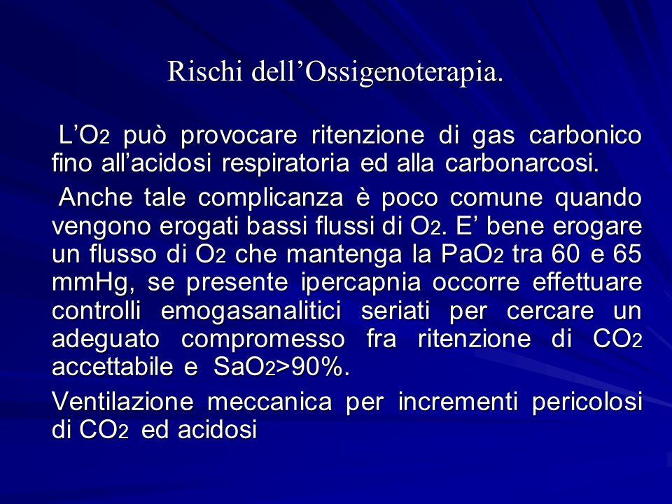 Rischi dellOssigenoterapia. LO 2 può provocare ritenzione di gas carbonico fino allacidosi respiratoria ed alla carbonarcosi. LO 2 può provocare riten