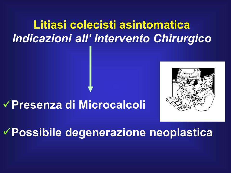 Litiasi colecisti asintomatica Indicazioni all Intervento Chirurgico Presenza di Microcalcoli Possibile degenerazione neoplastica