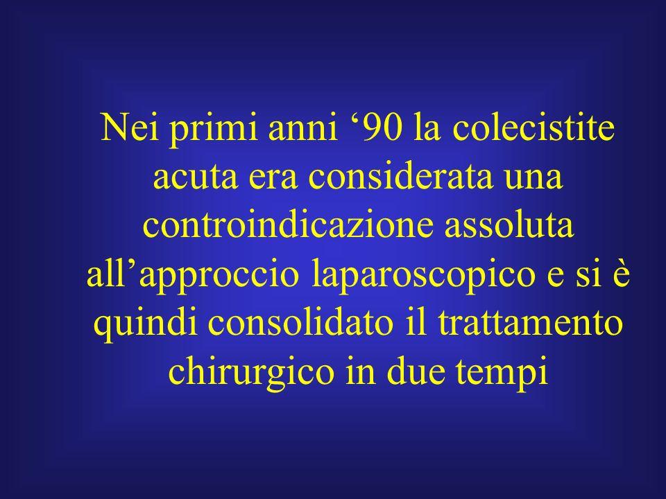 Nei primi anni 90 la colecistite acuta era considerata una controindicazione assoluta allapproccio laparoscopico e si è quindi consolidato il trattame