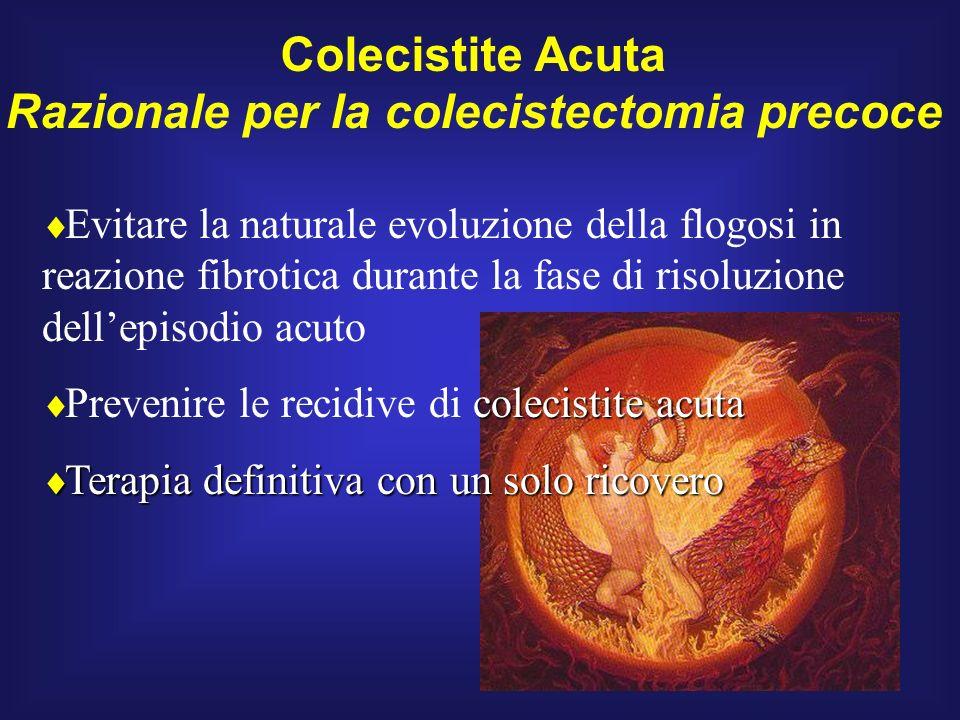 Evitare la naturale evoluzione della flogosi in reazione fibrotica durante la fase di risoluzione dellepisodio acuto colecistite acuta Prevenire le re