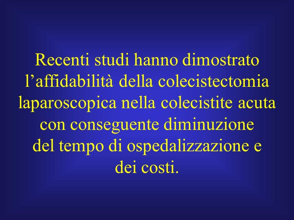 Recenti studi hanno dimostrato laffidabilità della colecistectomia laparoscopica nella colecistite acuta con conseguente diminuzione del tempo di ospe