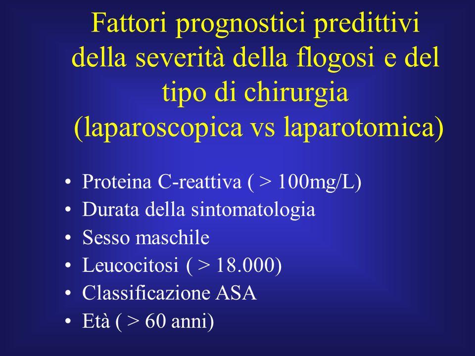 Fattori prognostici predittivi della severità della flogosi e del tipo di chirurgia (laparoscopica vs laparotomica) Proteina C-reattiva ( > 100mg/L) D