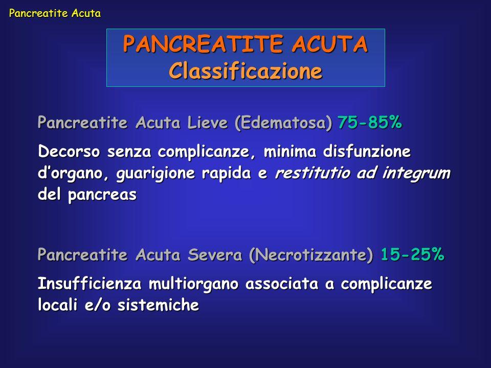 Pancreatite Acuta PANCREATITE ACUTA Classificazione Pancreatite Acuta Lieve (Edematosa) 75-85% Decorso senza complicanze, minima disfunzione dorgano,