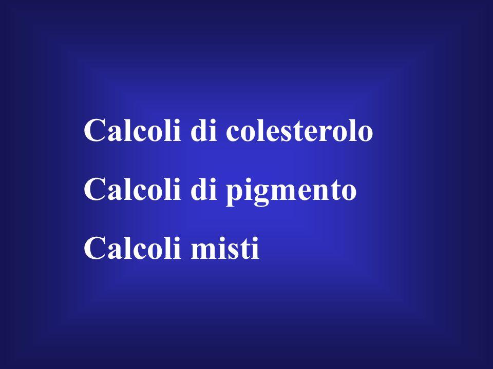 Calcoli di colesterolo Calcoli di pigmento Calcoli misti