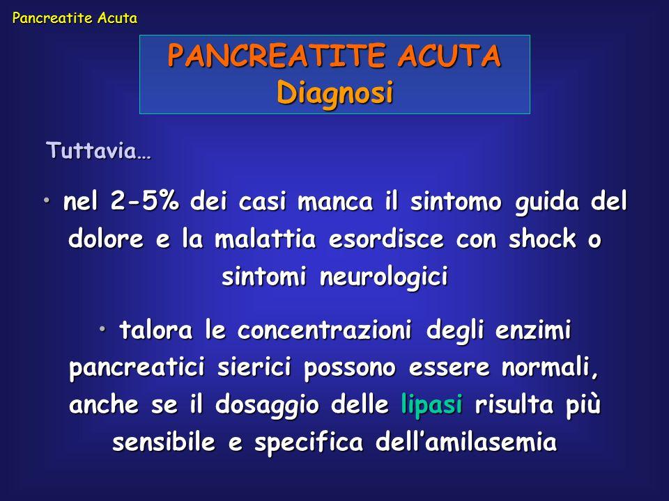PANCREATITE ACUTA Diagnosi nel 2-5% dei casi manca il sintomo guida del dolore e la malattia esordisce con shock o sintomi neurologici nel 2-5% dei ca