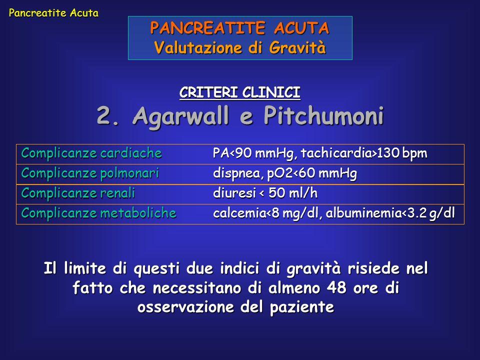 PANCREATITE ACUTA Valutazione di Gravità CRITERI CLINICI 2. Agarwall e Pitchumoni Pancreatite Acuta Complicanze cardiachePA 130 bpm Complicanze polmon