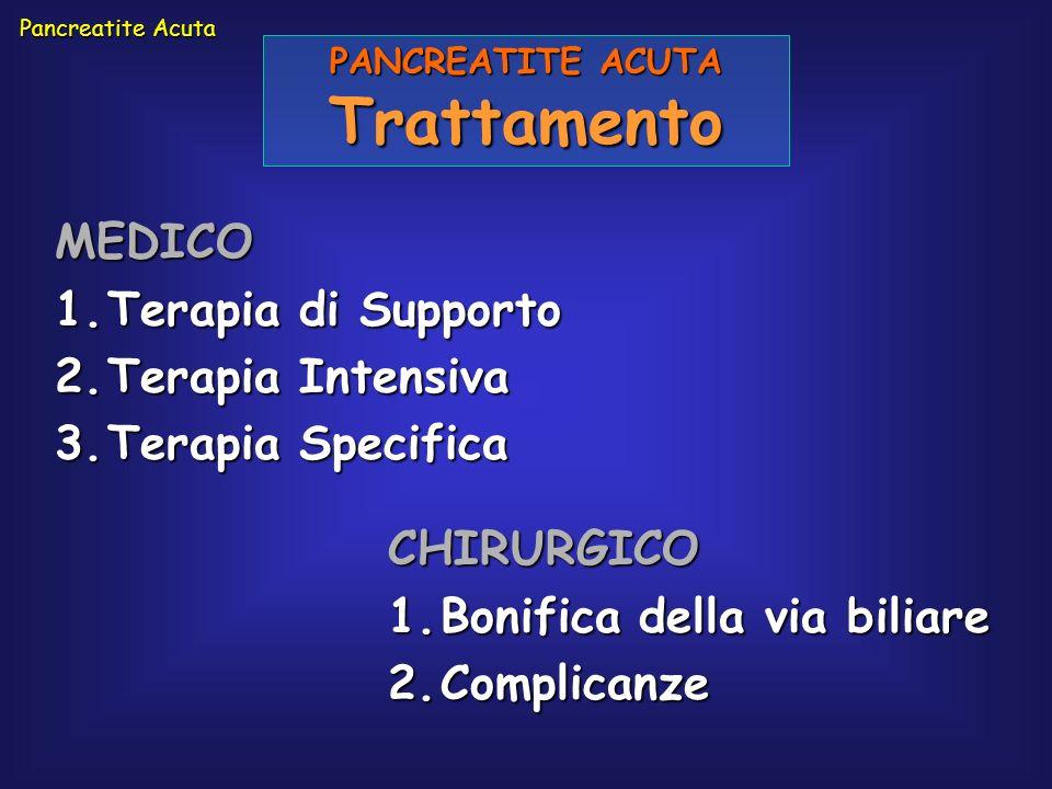 Pancreatite Acuta PANCREATITE ACUTA Trattamento MEDICO 1.Terapia di Supporto 2.Terapia Intensiva 3.Terapia Specifica CHIRURGICO 1.Bonifica della via b