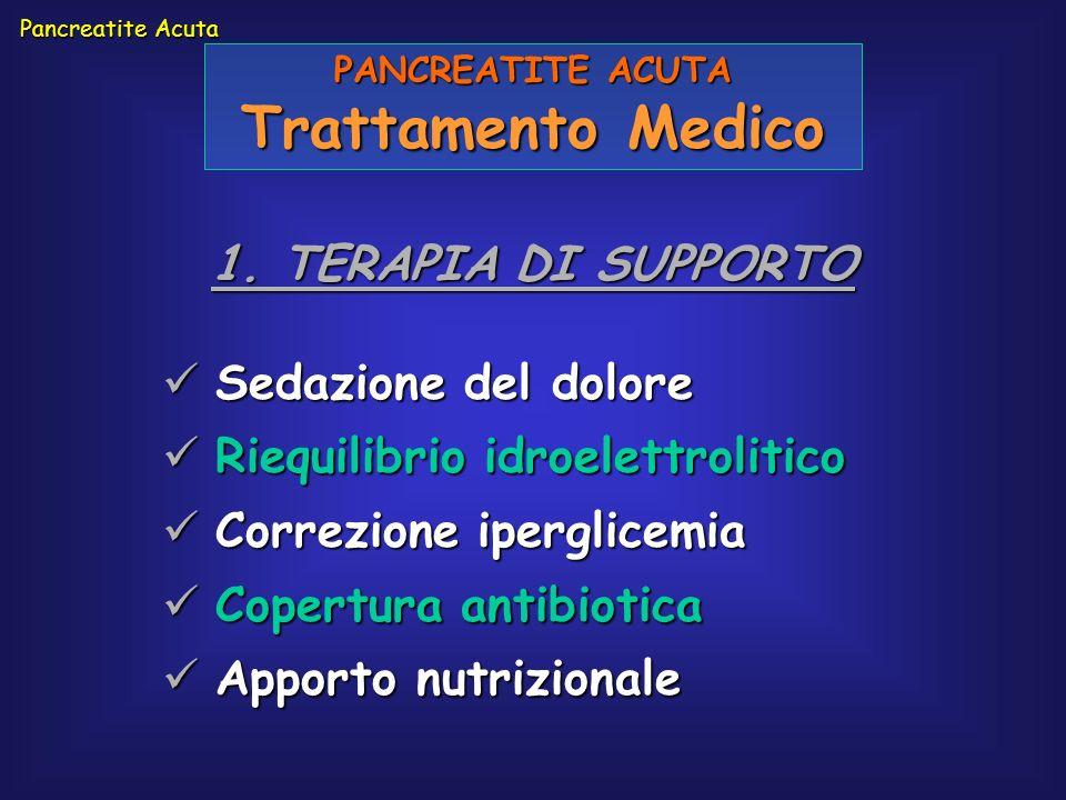 Pancreatite Acuta PANCREATITE ACUTA Trattamento Medico 1. TERAPIA DI SUPPORTO Sedazione del dolore Sedazione del dolore Riequilibrio idroelettrolitico