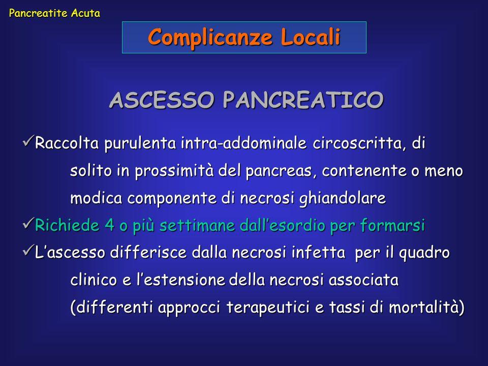 Pancreatite Acuta Complicanze Locali ASCESSO PANCREATICO Raccolta purulenta intra-addominale circoscritta, di solito in prossimità del pancreas, conte