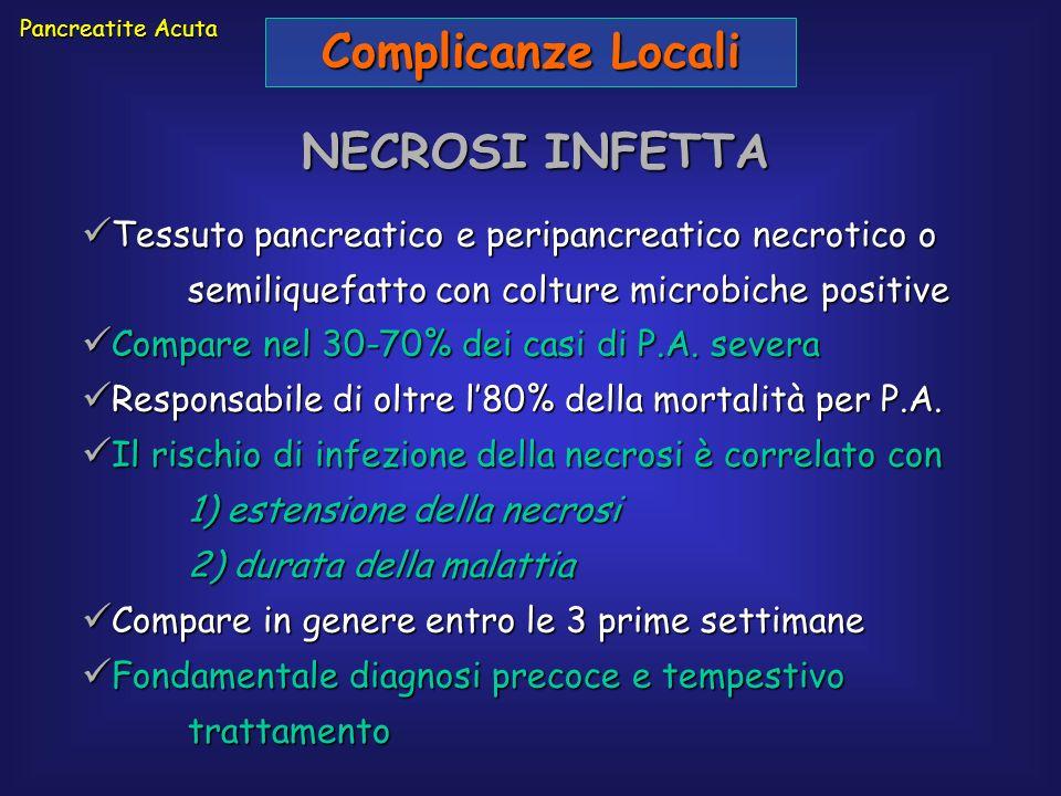 Complicanze Locali NECROSI INFETTA Tessuto pancreatico e peripancreatico necrotico o semiliquefatto con colture microbiche positive Tessuto pancreatic