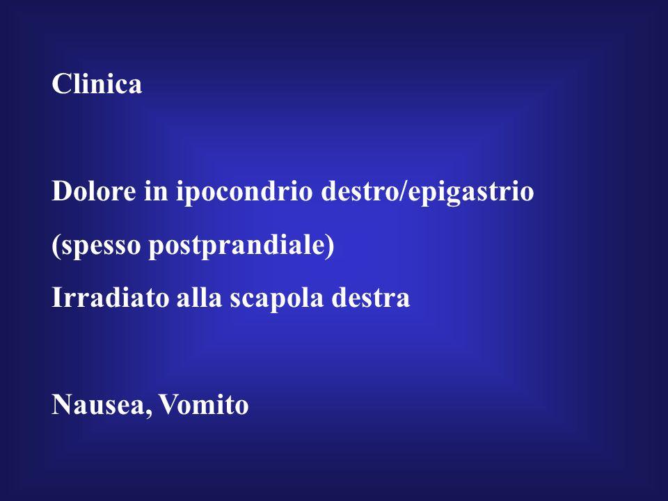 Clinica Dolore in ipocondrio destro/epigastrio (spesso postprandiale) Irradiato alla scapola destra Nausea, Vomito