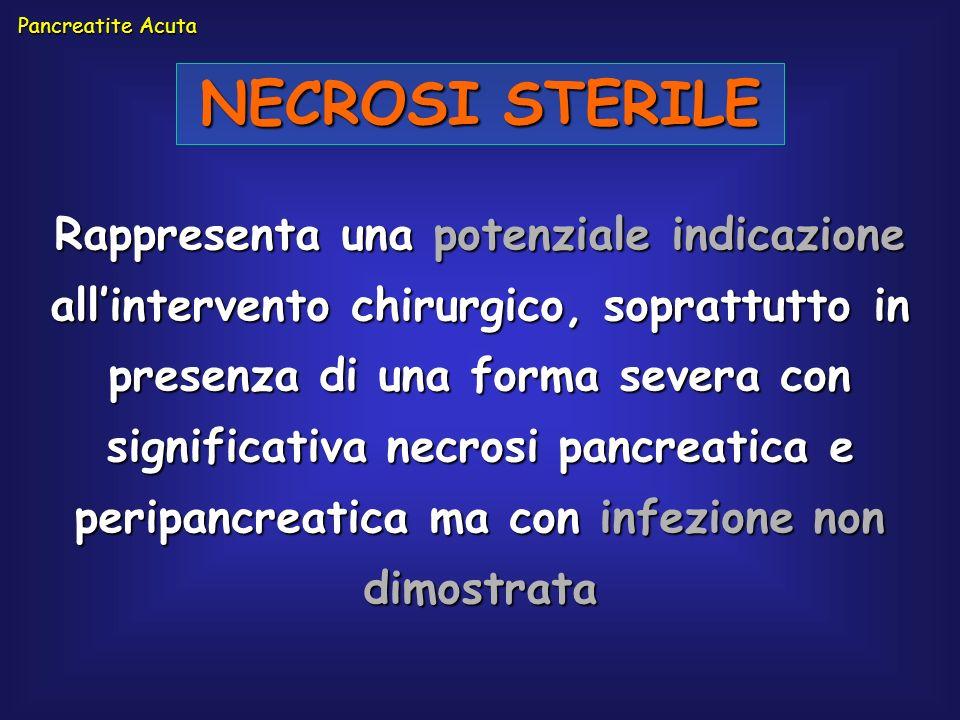 Rappresenta una potenziale indicazione allintervento chirurgico, soprattutto in presenza di una forma severa con significativa necrosi pancreatica e p