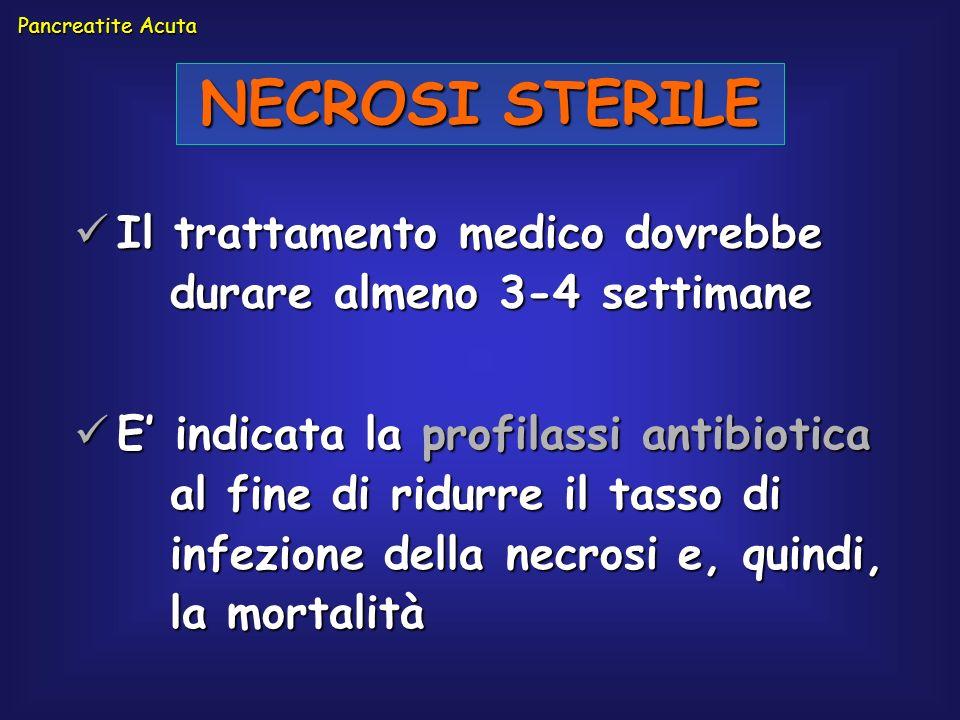 Il trattamento medico dovrebbe durare almeno 3-4 settimane Il trattamento medico dovrebbe durare almeno 3-4 settimane E indicata la profilassi antibio