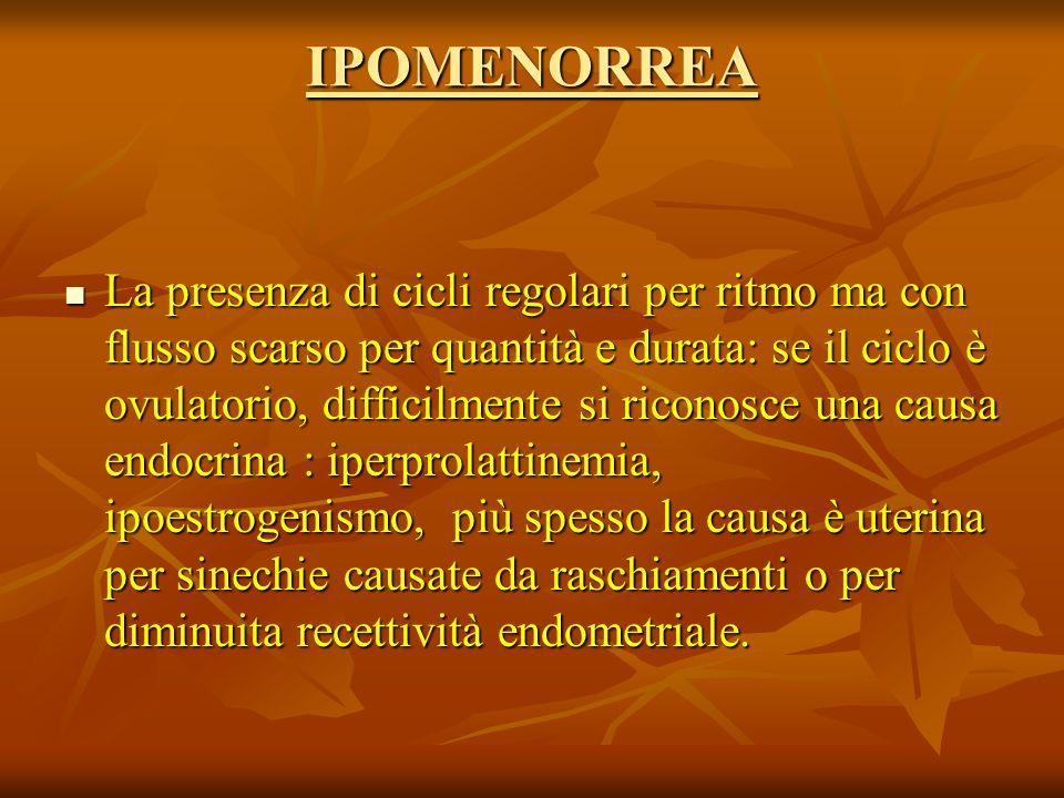 IPOMENORREA La presenza di cicli regolari per ritmo ma con flusso scarso per quantità e durata: se il ciclo è ovulatorio, difficilmente si riconosce una causa endocrina : iperprolattinemia, ipoestrogenismo, più spesso la causa è uterina per sinechie causate da raschiamenti o per diminuita recettività endometriale.