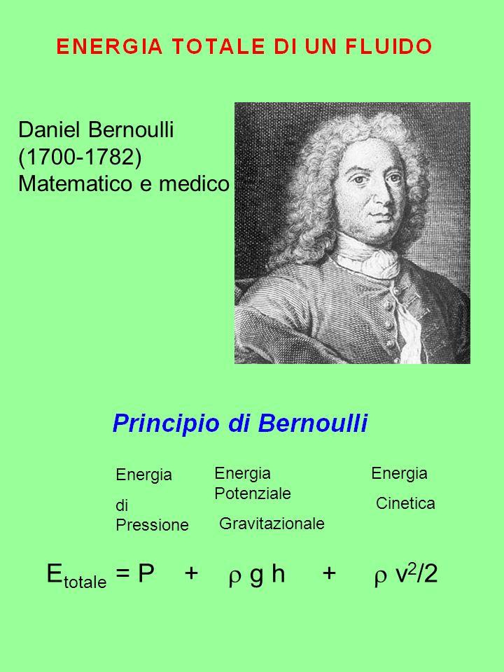 E totale = P + g h + v 2 /2 Energia di Pressione Energia Cinetica Energia Potenziale Gravitazionale Daniel Bernoulli (1700-1782) Matematico e medico