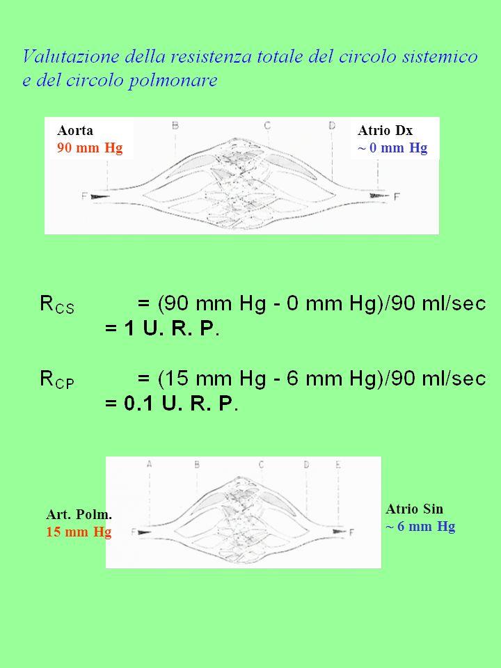 Aorta 90 mm Hg Atrio Dx 0 mm Hg Art. Polm. 15 mm Hg Atrio Sin 6 mm Hg