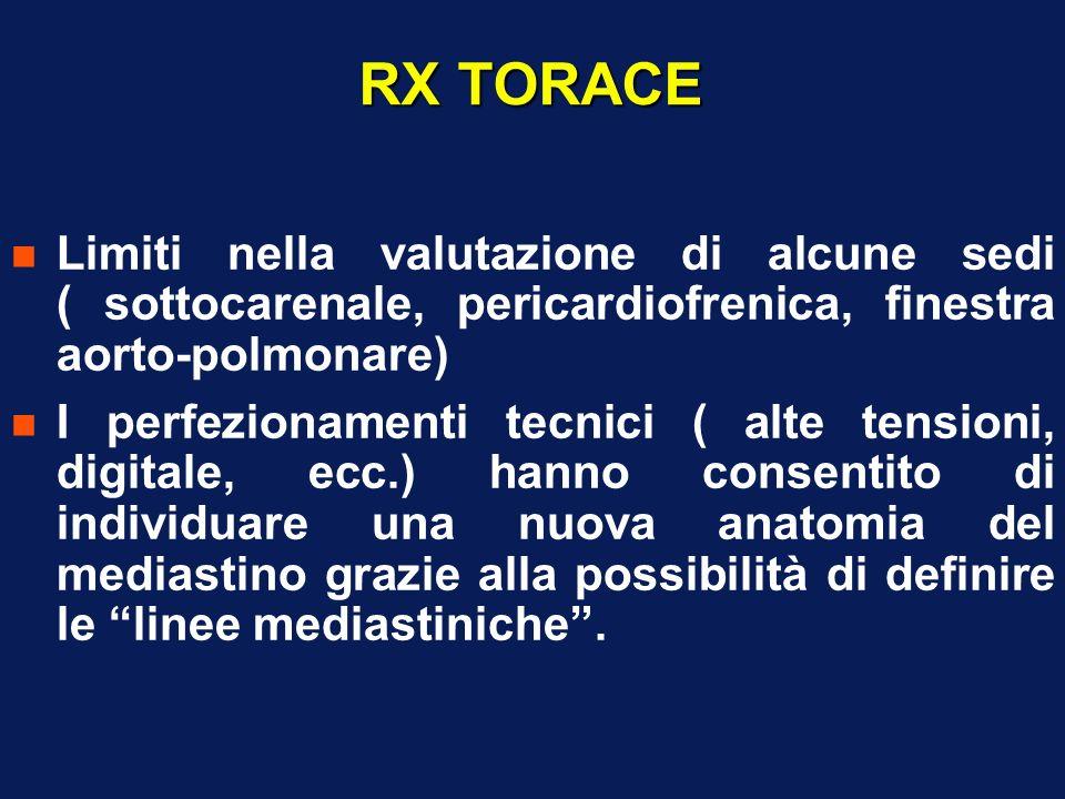 RX TORACE n Limiti nella valutazione di alcune sedi ( sottocarenale, pericardiofrenica, finestra aorto-polmonare) n I perfezionamenti tecnici ( alte t