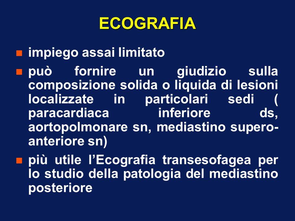 ECOGRAFIA n impiego assai limitato n può fornire un giudizio sulla composizione solida o liquida di lesioni localizzate in particolari sedi ( paracard