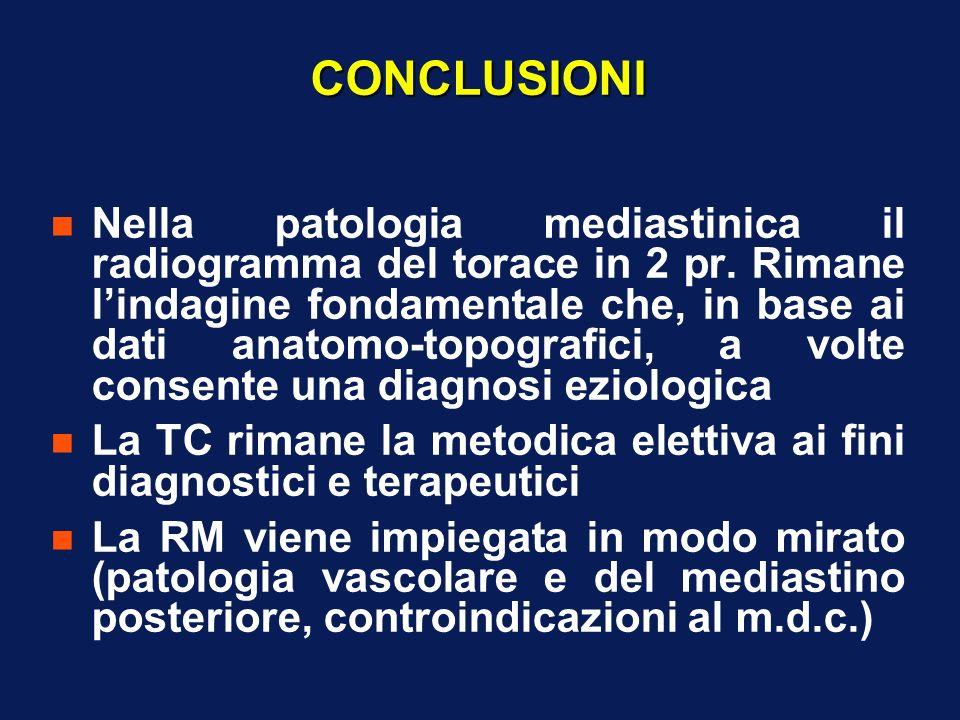 CONCLUSIONI n Nella patologia mediastinica il radiogramma del torace in 2 pr. Rimane lindagine fondamentale che, in base ai dati anatomo-topografici,