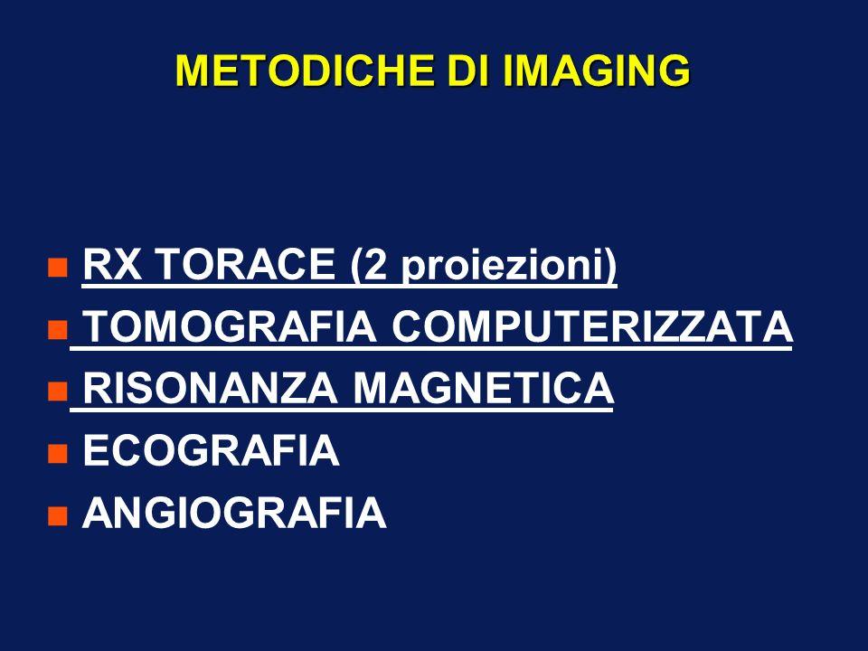 METODICHE DI IMAGING n RX TORACE (2 proiezioni) n TOMOGRAFIA COMPUTERIZZATA n RISONANZA MAGNETICA n ECOGRAFIA n ANGIOGRAFIA