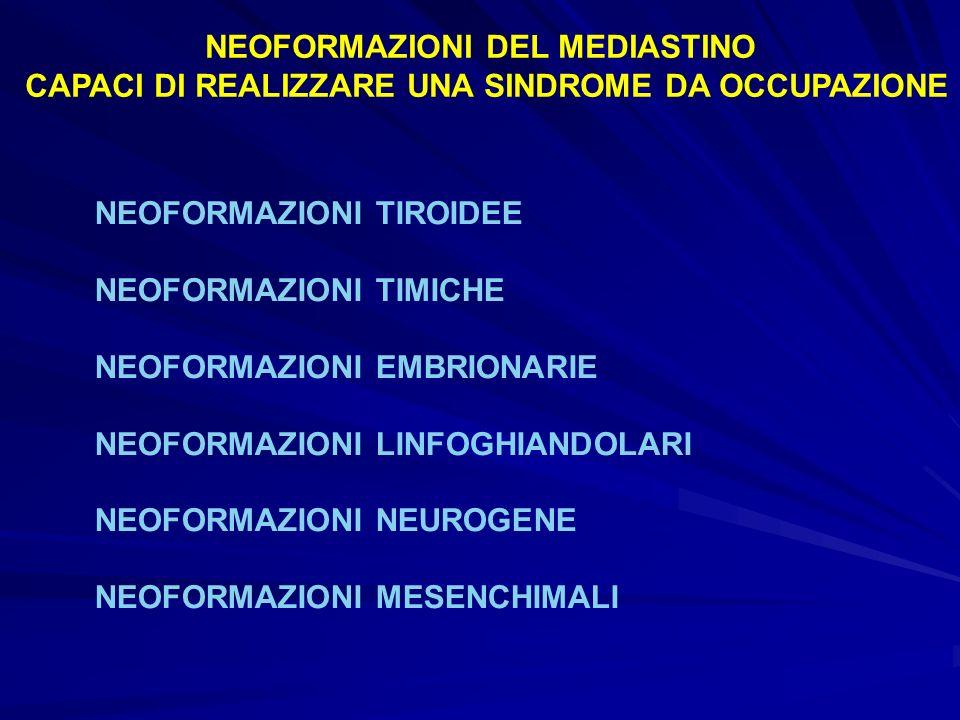 NEOFORMAZIONI DEL MEDIASTINO CAPACI DI REALIZZARE UNA SINDROME DA OCCUPAZIONE NEOFORMAZIONI TIROIDEE NEOFORMAZIONI TIMICHE NEOFORMAZIONI EMBRIONARIE N
