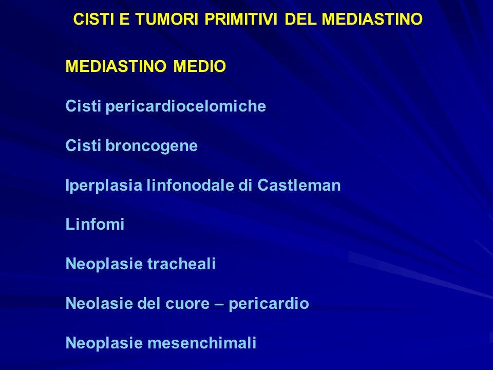 MEDIASTINO MEDIO Cisti pericardiocelomiche Cisti broncogene Iperplasia linfonodale di Castleman Linfomi Neoplasie tracheali Neolasie del cuore – peric