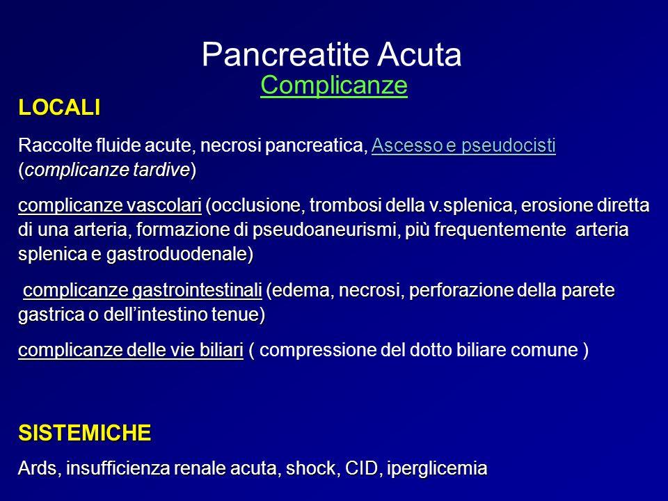 LOCALI Ascesso e pseudocisti (complicanze tardive) Raccolte fluide acute, necrosi pancreatica, Ascesso e pseudocisti (complicanze tardive) complicanze