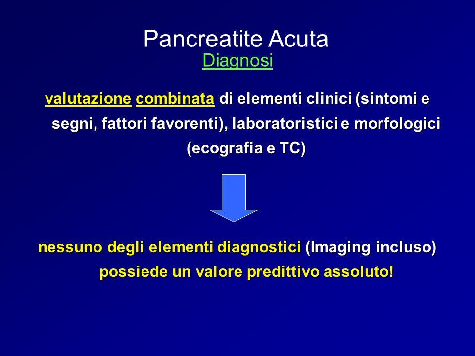 valutazione combinata di elementi clinici (sintomi e segni, fattori favorenti), laboratoristici e morfologici (ecografia e TC) nessuno degli elementi