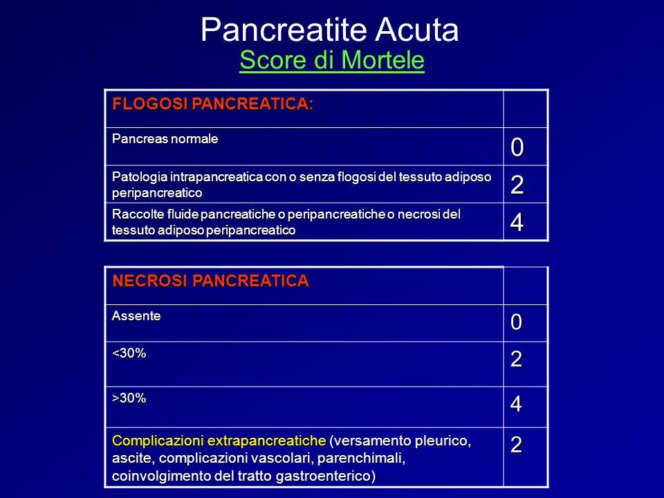 FLOGOSI PANCREATICA: Pancreas normale 0 Patologia intrapancreatica con o senza flogosi del tessuto adiposo peripancreatico 2 Raccolte fluide pancreati
