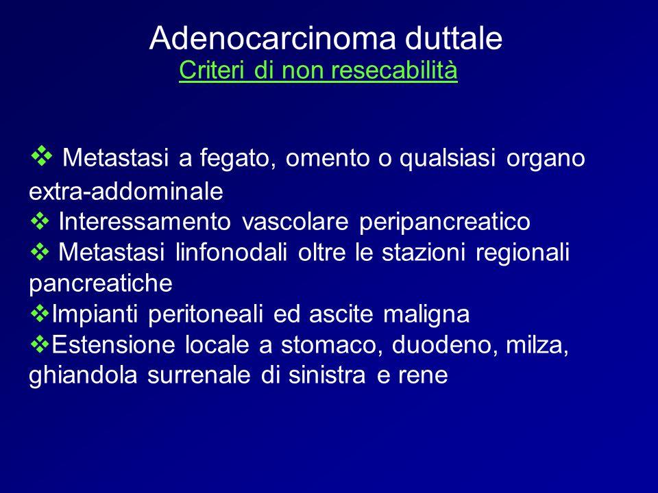 Criteri di non resecabilità Metastasi a fegato, omento o qualsiasi organo extra-addominale Interessamento vascolare peripancreatico Metastasi linfonod