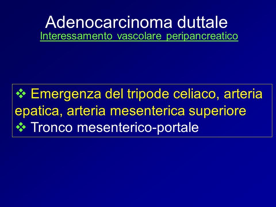Interessamento vascolare peripancreatico Emergenza del tripode celiaco, arteria epatica, arteria mesenterica superiore Tronco mesenterico-portale