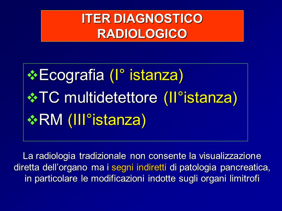 ITER DIAGNOSTICO RADIOLOGICO Ecografia (I° istanza) Ecografia (I° istanza) TC multidetettore (II°istanza) TC multidetettore (II°istanza) RM (III°istan