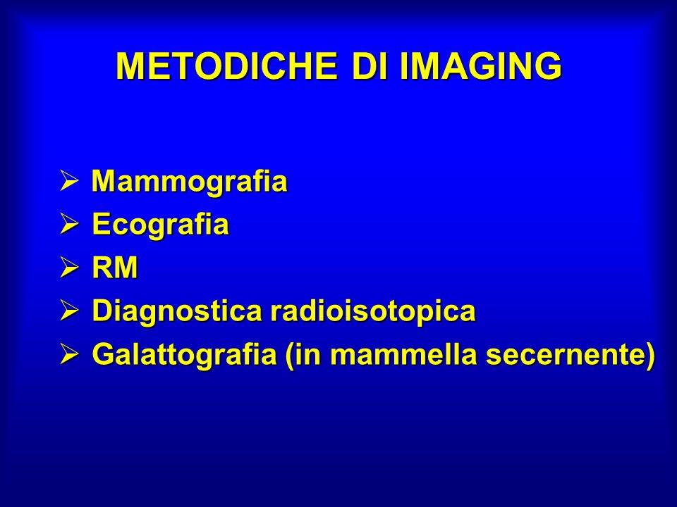 METODICHE DI IMAGING Mammografia Ecografia Ecografia RM RM Diagnostica radioisotopica Diagnostica radioisotopica Galattografia (in mammella secernente) Galattografia (in mammella secernente)