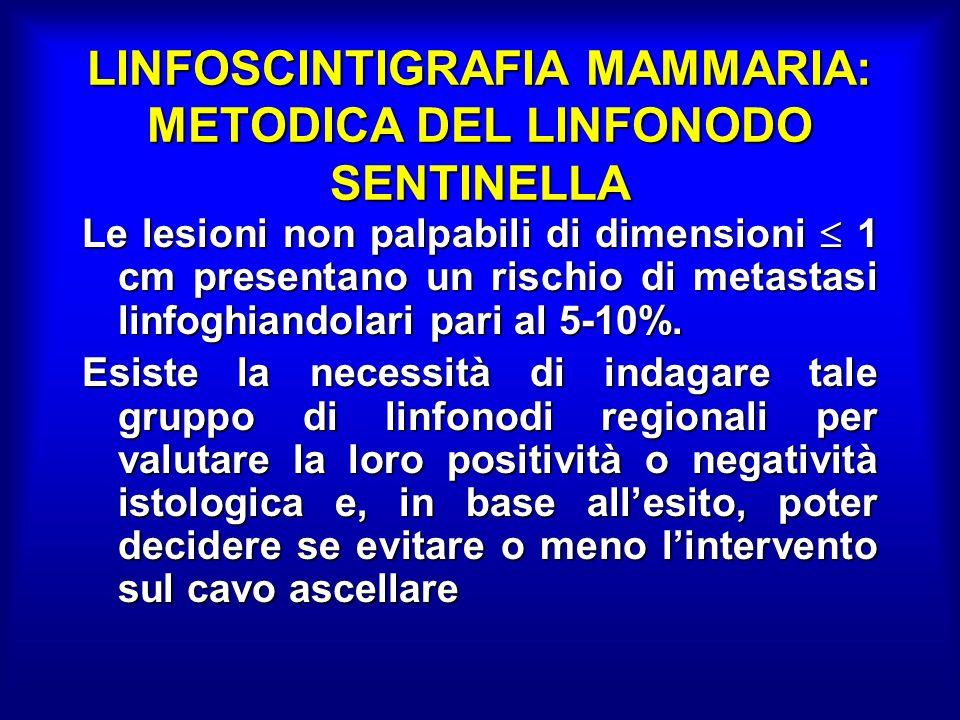 LINFOSCINTIGRAFIA MAMMARIA: METODICA DEL LINFONODO SENTINELLA Le lesioni non palpabili di dimensioni 1 cm presentano un rischio di metastasi linfoghiandolari pari al 5-10%.